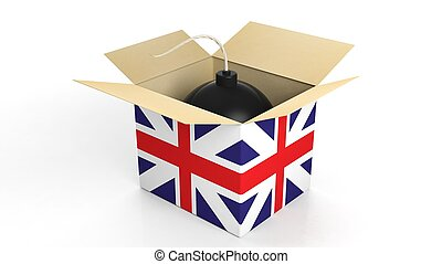 Bomb in box with flag of UK, isolated on white background.