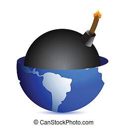 bomb inside a globe illustration