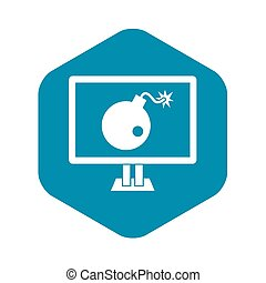 Bomb on computer monitor icon, simple style