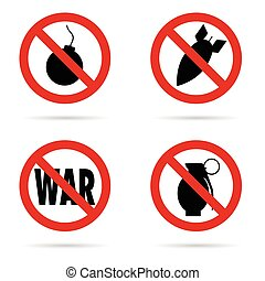 bomb set red sign in black color illustration