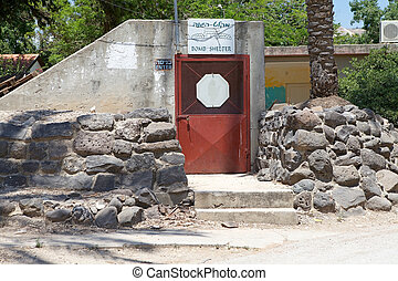 Bomb shelter - Kibbutz Ein-Gev, Israel, June 16, 2013: we...