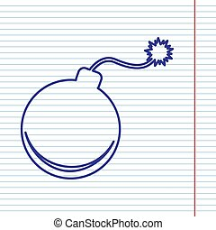 Bomb sign illustration. Vector. Navy line icon on notebook paper as background with red line for field.