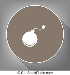 Bomb sign illustration. Vector. White icon on brown circle with white contour and long shadow at gray background. Like top view on postament.