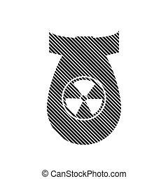 Bomb sign on white.