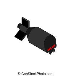 Bomb skull isolated. Torpedo bombshell. vector illustration