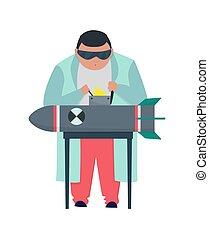 bomb., stereotype., vecteur, mal, prof, fonctionnement, laboratoire, fou, fond, scientist., blanc, lab., laboratoire, docteur, scientifique fou, illustration, manteau, isolé, recherche