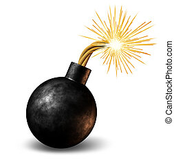 Bomb with lit burning fuse with fire sparks fealing the heat...