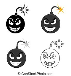 Bomb virus icon in cartoon style isolated on white background. Personal computer symbol stock vector illustration.