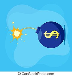 Bomb with a burning explosive fuse and the dollar currency sign. Economic crisis and business bankruptcy. Vector illustration.