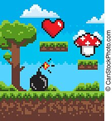 Bomb with Fire, Mushroom and Heart Pixel Game