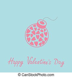 Bomb with hearts inside Happy Valentines Day card. Blue and pink. Flat design.