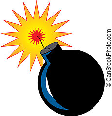 Bomb with ignited fuse ready to explode