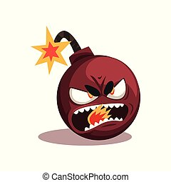 Bomb with lit burning fuse. Ready for explosion. Cartoon character with angry face expression. Flat vector design for emblem, social network sticker or print