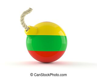 Bomb with lithuanian flag isolated on white background. 3d ...