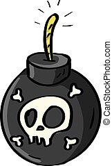 Bomb with skull, illustration, vector on white background.
