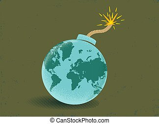 Bomb with World map