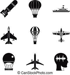 bomba aerea, icone, set, semplice, stile