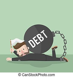 bomba, affari, dare, su, debito, uomo
