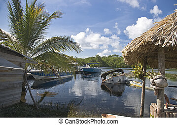 The dock at Bomba, on the Northern river, in Belize