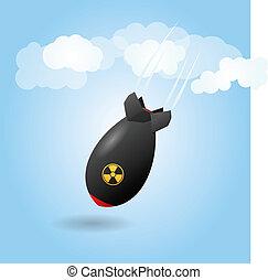 bomba, caricatura, foguete