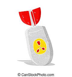 bomba, cartone animato, atomo