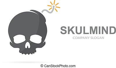 bomba, combination., cráneo, peligro, explosión, símbolo, logotype, muerto, o, vector, diseño, logotipo, icon., único, template., destrucción