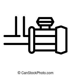bomba, compresor, icono, estilo, contorno
