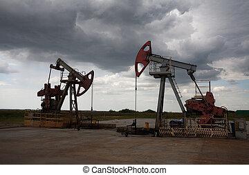 bomba de aceite, en, el, campo