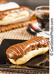 Bomba de chocolate. A Brazilian traditional eclair.