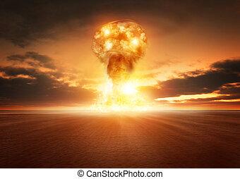 bomba, explosión, átomo