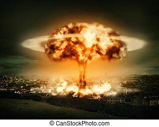 bomba, explosión, nuclear