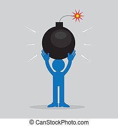 bomba, figura, segurando