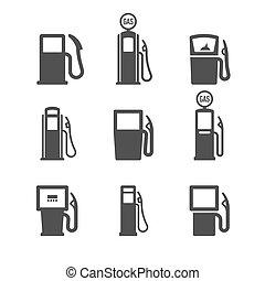 bomba, gas, iconos