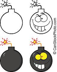 bomba, loucos, personagem, caricatura, mal