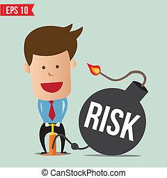 bomba, rischio, affari, pompa, cartone animato, uomo