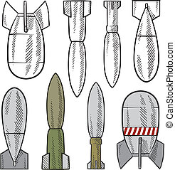 bomba, sortimento, esboço