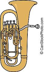Bombardone - Hand drawing of a classic big trumpet
