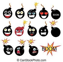 bombe, brennender, aus, sicherung, hintergrund, weißes