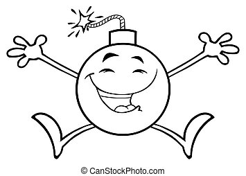 bombe, caractère, bras, sauter, noir, blanc, heureux, ouvert, dessin animé, mascotte