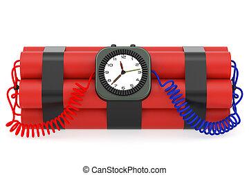 bombe, horloge, détonateur, temps, dynamite, blanc