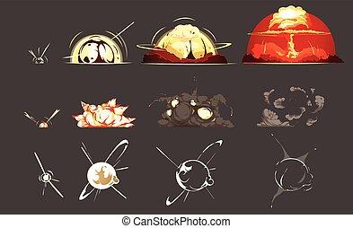 bombe, icônes, collection, retro, explosion, dessin animé