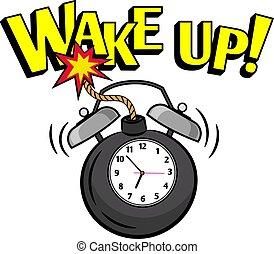 bombe, wakeup, uhr