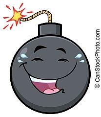 bombe, zeichen, gesicht, ausdrücke, maskottchen, lächeln, karikatur, glücklich