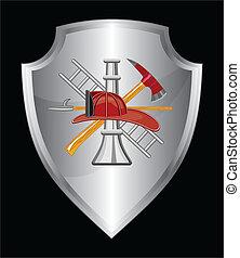 bombeiro, ícone, ligado, escudo