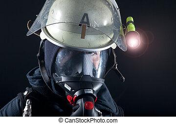 bombeiro, com, máscara