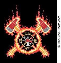 bombeiro, crucifixos, com, machados, e, fla