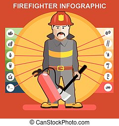 bombeiro, em, terno fogo, homem