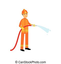 bombeiro, em, uniforme, e, protetor, capacete, segurando,...