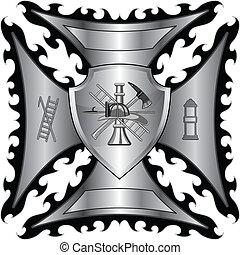 bombeiro, escudo, prata, crucifixos