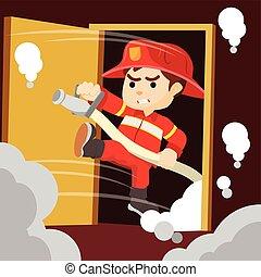 bombeiro, sahed, porta